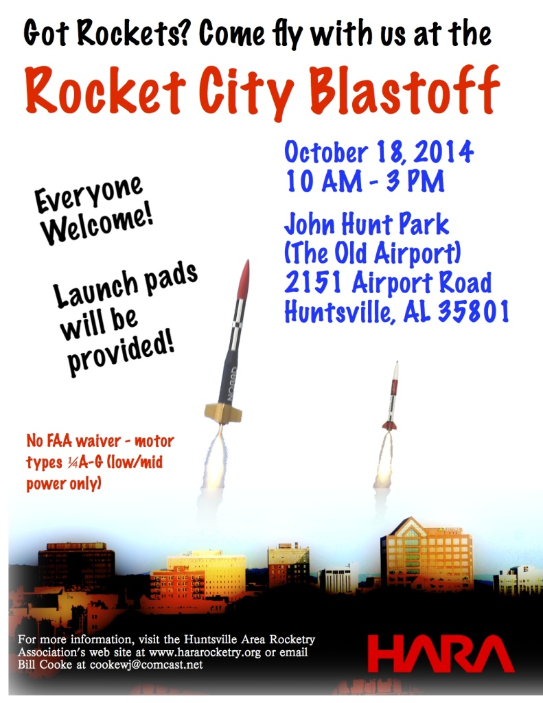 Announcement for the 2014 Rocket City Blastoff
